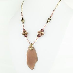 Artisan Purple Glass Beaded Necklace